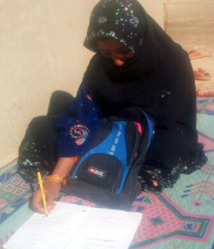 Brishna lives in a small village in Garamser, Helmand. She is 9 years old and comes from a poor family. Brishna is a bright girl and always wanted to go to school. Credit: Afghanistan Ministry of Education
