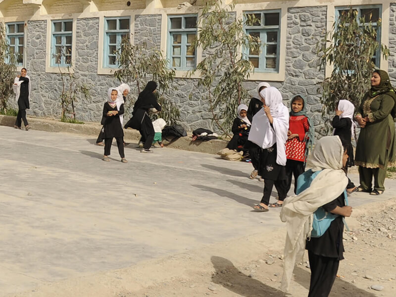 Girls play in the yard of Ayno Meena Number Two school in the city of Kandahar, Afghanistan. Credit: GPE/Jawad Jalali