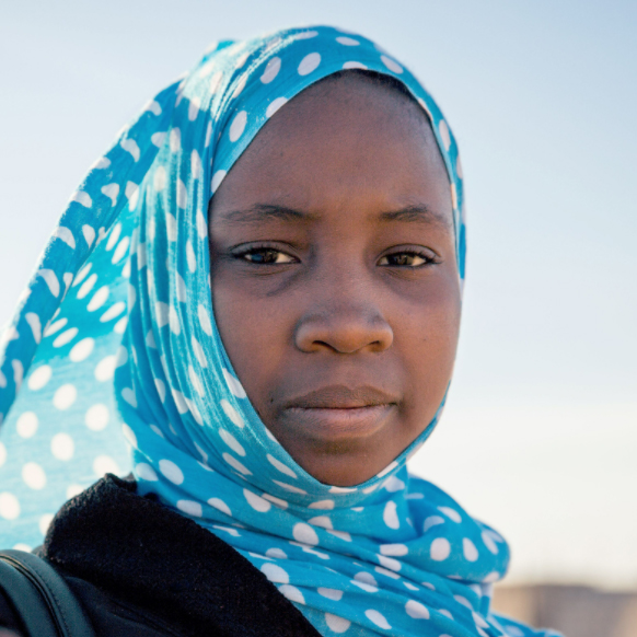 Aichetou, 14, is in class 8 at College Riyad 5, Tarhil, Nouakchott, Mauritania. GPE/Kelley Lynch