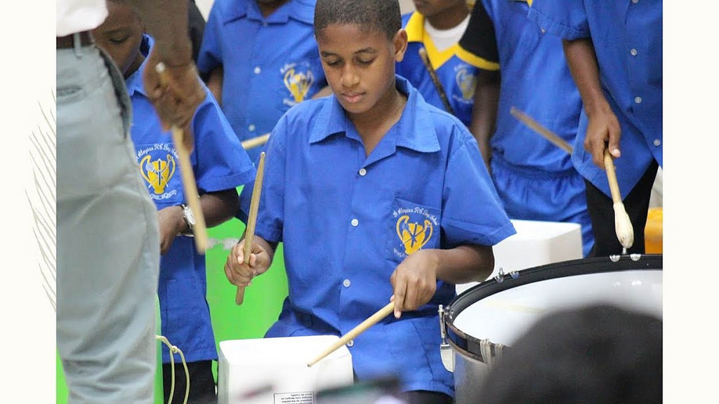 The RC Boys Bucket Band at the St Aloyisus R.C Boys Primary School, St. Lucia. Credit: Quinton Morson
