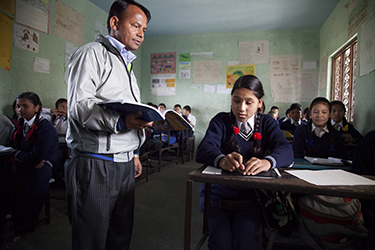 Shakuntala Badi is 13 years old and studies in Class 5B at Adarsha Saula Yubak Higher Secondary School, Bhainsipati. She is the only blind student in her class. Credit: GPE/NayanTara Gurung Kakshapati