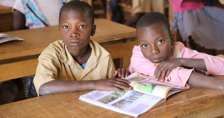 Boy and girl in 4th grade studying biology in a newly built community school in Côte d'Ivoire.  Credit: GPE/Carine Durand
