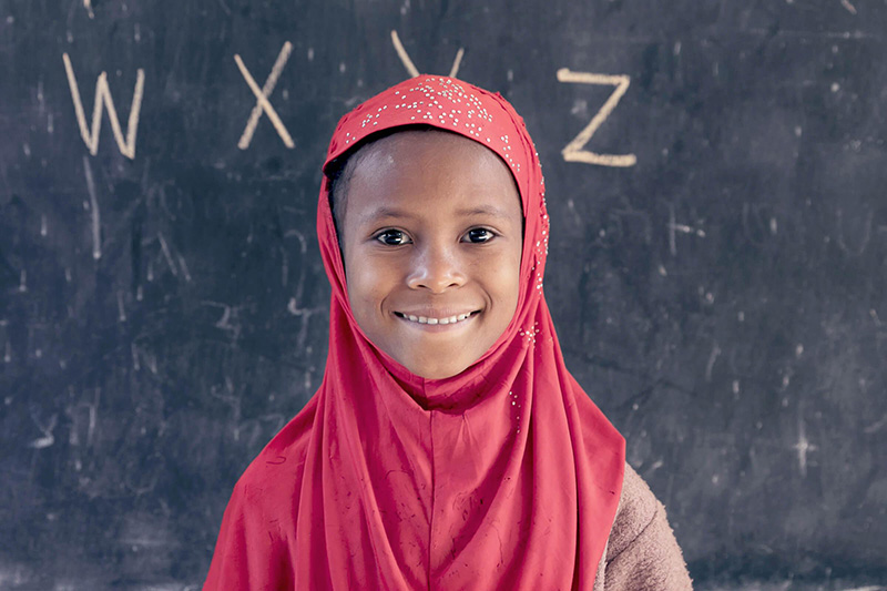 A first grade student at the blackboard; Felege Abay Elementary School, Bahar Dar, Ethiopia. Credit: GPE/Kelley Lynch