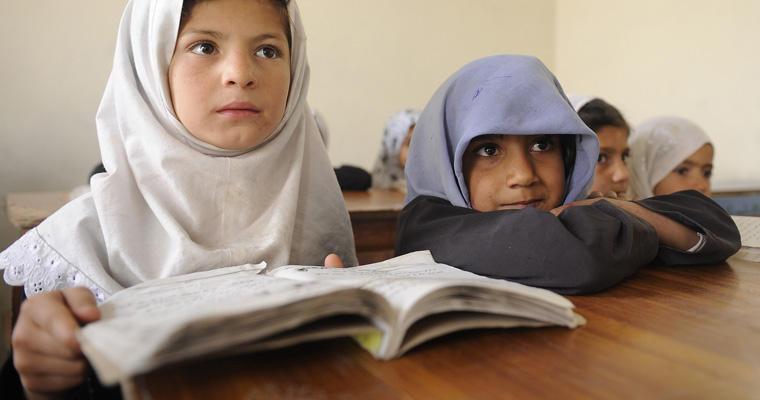 Two students at Ayno Meena Number Two School in the city of Kandahar, Afghanistan. Credit: GPE/Jawad Jalali