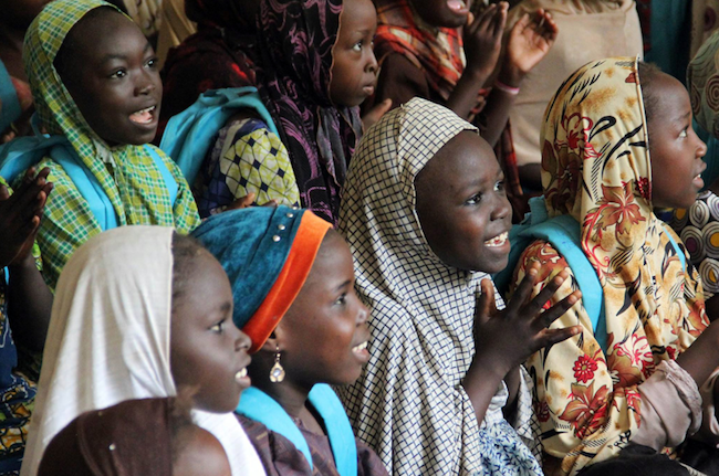 Internally displaced children attending classes at a displacement camp in Maiduguri, Borno State, Nigeria, September 2015.