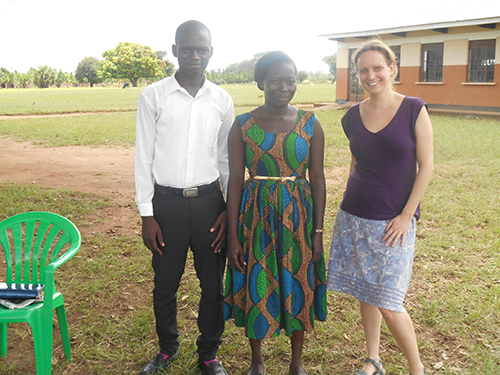 Lesley pictured with one of the teachers and students involved in the BRITE Futures project development. Credit: Africa Educational Trust