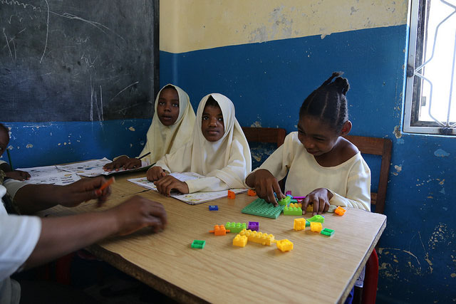 In this classroom, some students with disabilities receive more personalized attention. Kisiwandui primary school. Tanzania. Credit: GPE/Chantal Rigaud