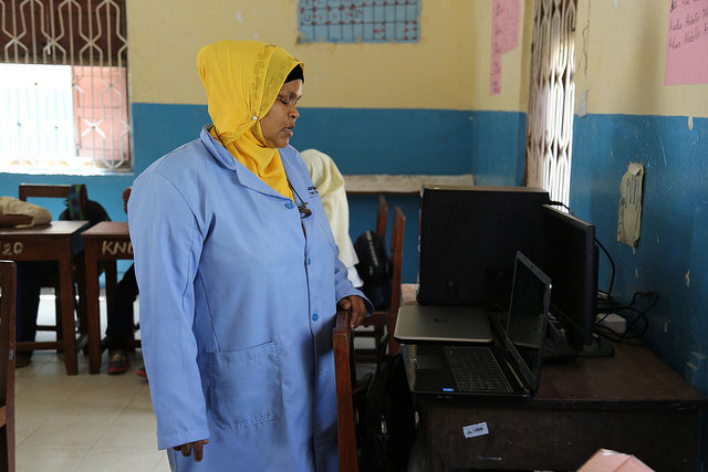 Computers purchased thanks to funding from the GPE grant to Zanzibar. Kisiwandui primary school. Credit: GPE/Chantal Rigaud