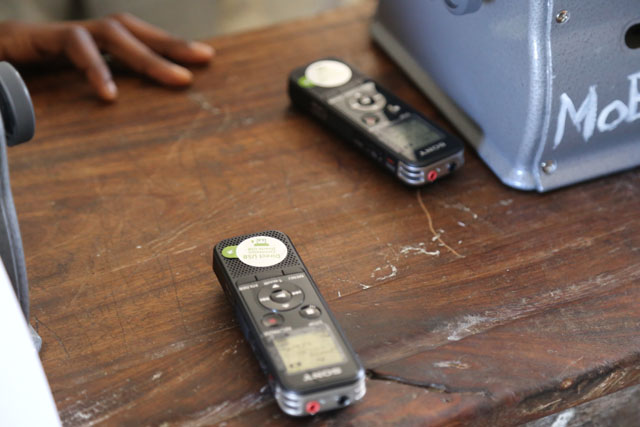These small devices are used to record the lessons, so children are able to listen back at home later for their homework. Credit: GPE/Chantal Rigaud