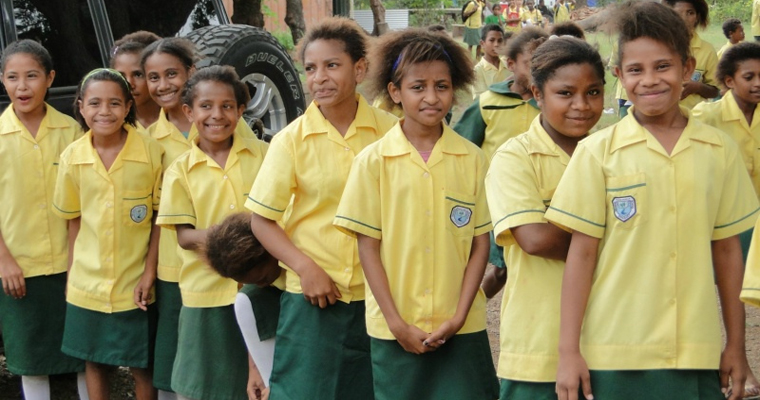 Girls in uniform line up in Papua New Guinea. Credit: GPE/Tara O'Connell