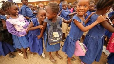 Girls in a school yard in Sierra Leone. Credit: GPE/Stephan Bachenheimer