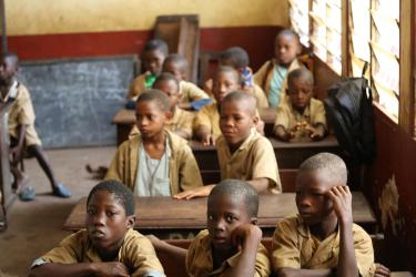 Boys in a classroom in Guinea. Credit: GPE/Tabassy Baro
