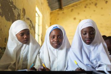 Nasiba Alhassan, 12, (center) is in Grade 5 at Miga Central Primary School, Miga, Jigawa State, Nigeria. Credit: GPE/Kelley Lynch