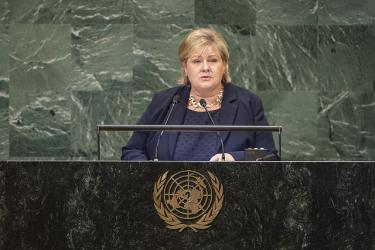 Erna Solberg speaks at the UN General Assembly. Credit: FN/Flickr