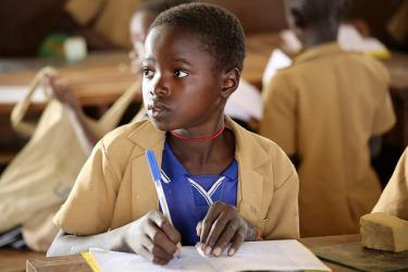 A student at Tila Primary School. Benin. Credit: GPE/Chantal Rigaud