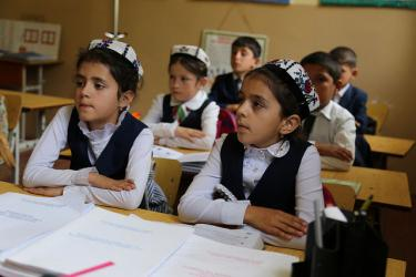 Children during class at the School #4, Varzob District, Tajikistan. Credit: Carine Durand