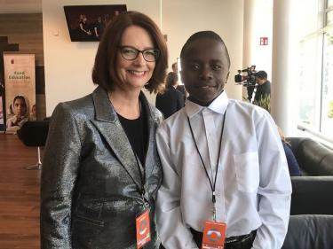 Julia Gillard and Wongani Nyirenda at the Global Citizen Festival in Hamburg, July 6, 2017. Credit: GPE/Sally-Anne Henfry