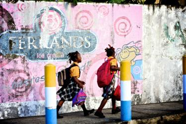Girls walking to school in St Lucia. Credit: Meng He