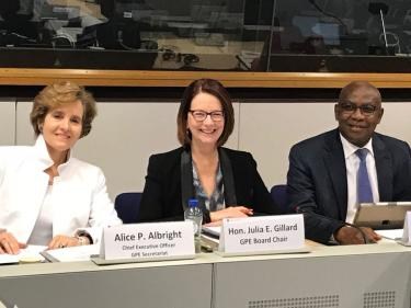 Julia Gillard, Alice Albright, and Minister Serigne Mbaye Thiam during the GPE Board meeting in Brussels on June, 12-14, 2018. Credit: GPE/ Sabine Terlecki