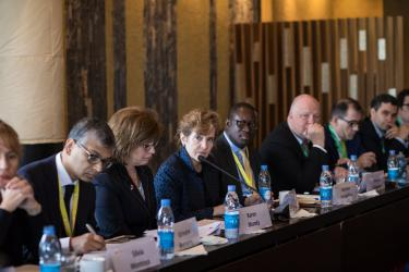 Data solutions roundtable at GPE Financing Conference in Dakar. Credit: GPE/Heather Shuker