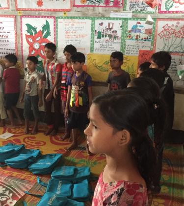Children sing and dance in a classroom in a refugee camp in Cox's Bazaar, Bangladesh. Credit: GPE/Daisuke Kanazawa