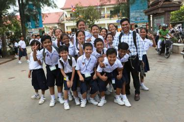 Students in front of Wat Bo Primary School, Siem Reap, Cambodia. Credit: GPE/Chor Sokunthea