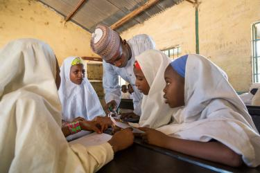 Students in class with teacher, Nigeria. Credit: GPE/Kelley Lynch