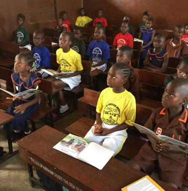Students in class at the Dr. SM Broaderick Municipal School in Freetown, Sierra Leone. Credit: GPE/Daisuke Kanazawa