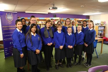 GPE CEO Alice Albright met with students at the Presentation Primary and Presentation Secondary Schools Warrenton in Dublin, Ireland. Credit: GPE/Alexandra Humme
