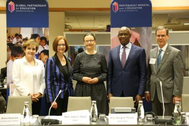Alice Albright, Julia Gillard, Anna Ekström, Serigne Mbaye Thiam, and Charles North in Sweden. Credit: GPE/Chantal