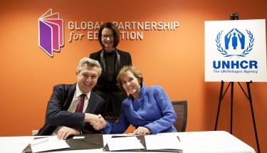 Signing of memorandum of understanding between UNHCR and GPE. Credit: GPE/Carine Durand