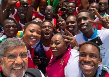 Selfie with Kailash Satyarthi, Nobel Peace Laureate and co-founder of the 100 Million campaign. Credit: 100 Million/KSCF-US