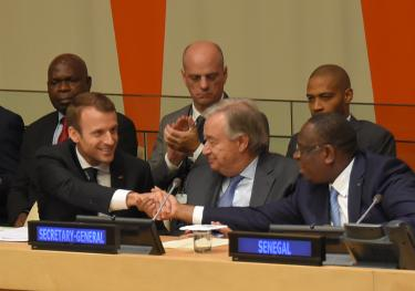 Emmanuel Macron, Antonio Guterres and Macky Sall at the UN General Assembly. Credit: GPE/Michael Loccisano