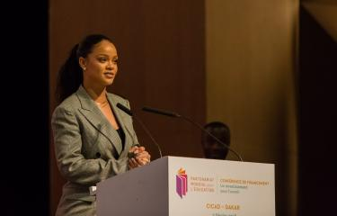 Rihanna at the GPE Financing Conference, Senegal. Credit: GPE/Heather Shuker