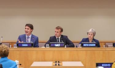 Justin Trudeau, Emmanuel Macron and Theresa May at the girls' education event in New York. Credit: Global Affairs Canada