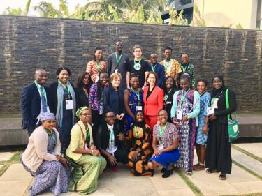 the youth delegates with Julia Gillard and Alice Albright at the GPE Financing Conference in Dakar. Credit: GPE/Victoria Egbetayo
