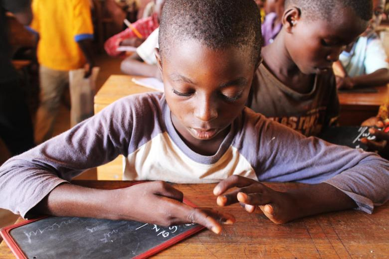 When asked about his future dream, this student said he wanted to become a math teacher. CAR, 2015. Credit: UNICEF/KIM