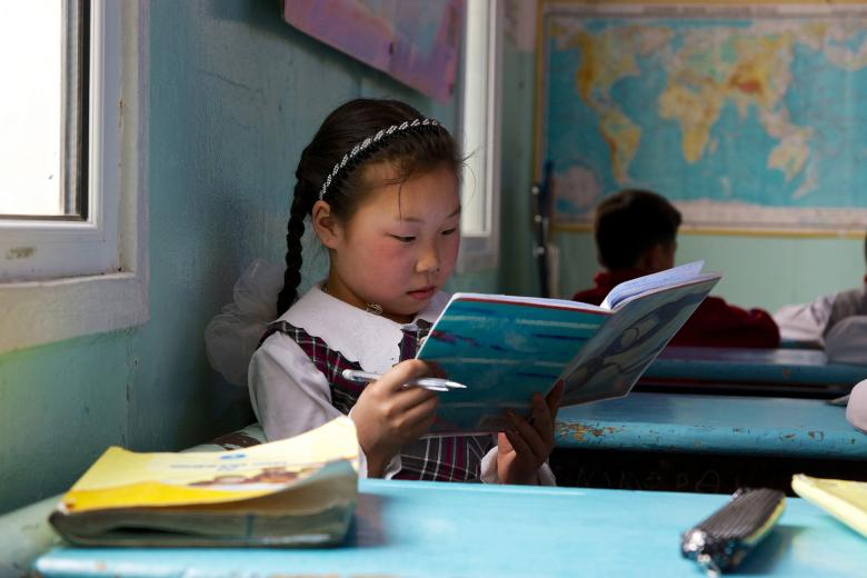 Studying during class break in Mongolia. Credit: Khasar Sandag/World Bank
