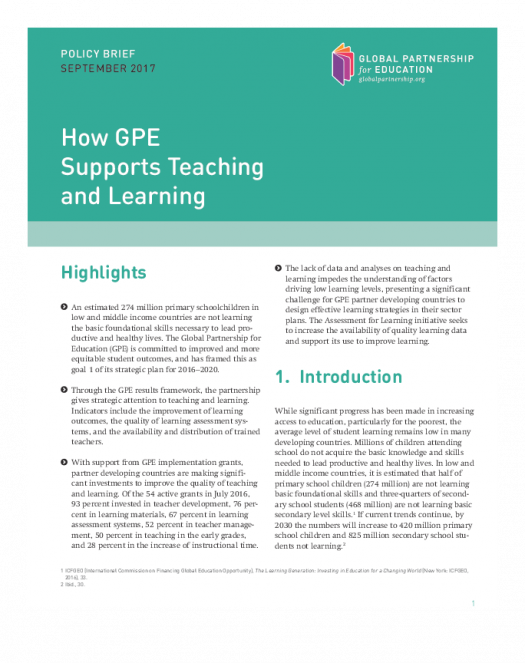 Policy brief: How GPE supports teaching and learning cover`
