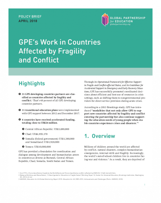 Policy brief: GPE's work in countries affected by fragility and conflict