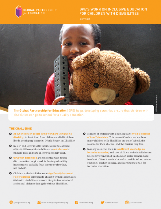 Factsheet: GPE's work on inclusive education for children with disabilities