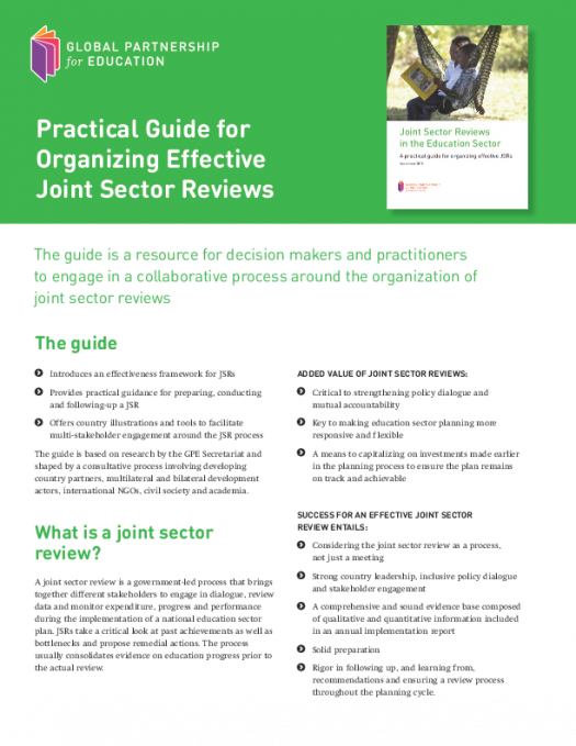 At a glance: Practical guide for organizing effective joint sector reviews