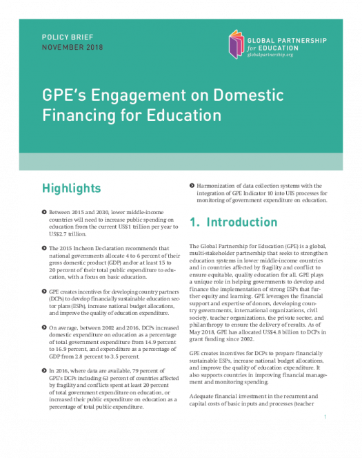 Policy brief: GPE's engagement on domestic financing for education
