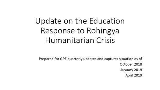 Update on the education response to the Rohingya humanitarian crisis. UNICEF. May 2019