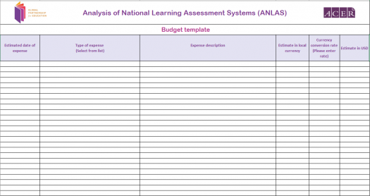 Budget template for the analysis of a learning assessment system
