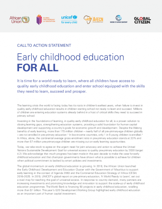 2019-08 Call to Action Statement Early Childhood Education for All PDF
