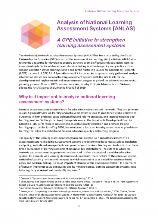 Brief: Analysis of national learning assessment systems