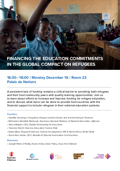 Financing the education commitments in the global compact on refugees
