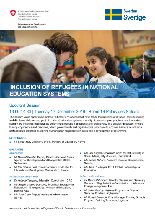 Inclusion of refugees in national education system