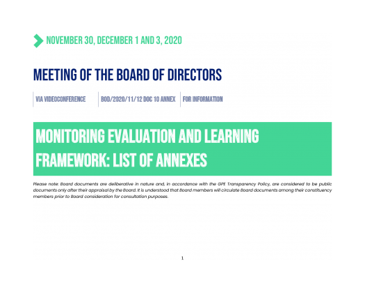 Monitoring, evaluation and learning framework: Annexes. December 2020